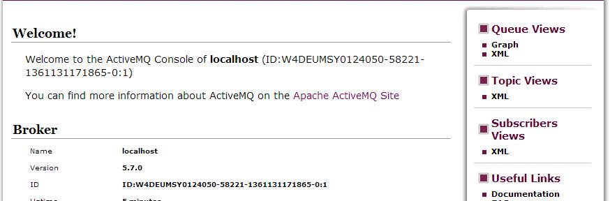 Das Internet der Dinge: ActiveMQ Konsole